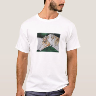 Borzoi and Whippet Dog Art Ladies T-shirt