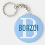 Borzoi Breed Monogram Design Basic Round Button Key Ring
