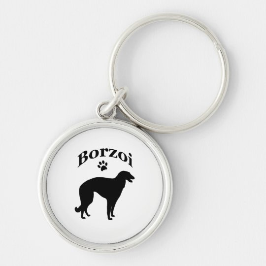 borzoi dog pawprint keychain, gift idea Silver-Colored round key ring