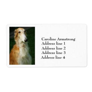 Borzoi dog photo personalized address labels