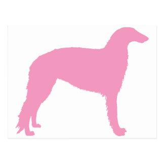 Borzoi Dog (pink) Postcard