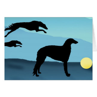 Borzoi Dogs Chasing Ball Card