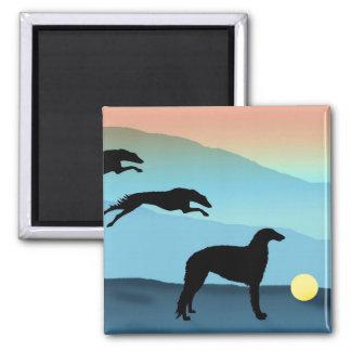 Borzoi Dogs Chasing Ball Magnet