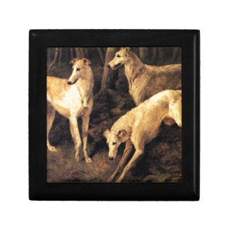 Borzoi In The Forest Small Square Gift Box