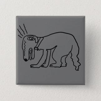 borzoi is here 15 cm square badge