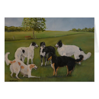 Borzoi Play Time Original Dog Art Note Card