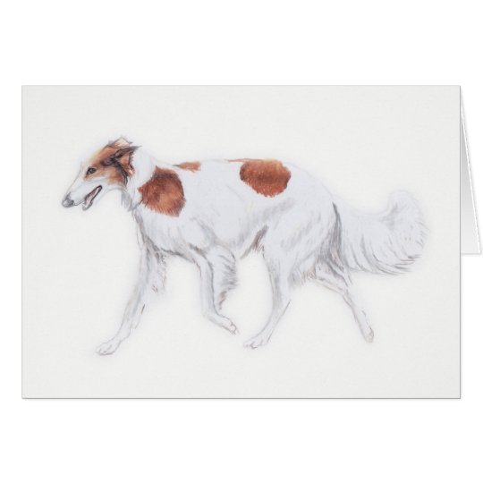 Borzoi Russian Wolfhound Dog Art Greeting Card