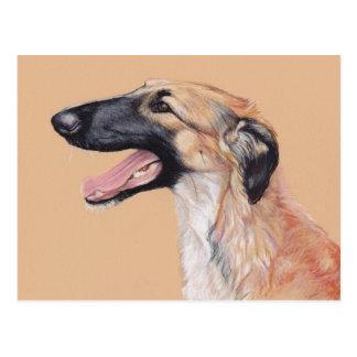 Borzoi Russian Wolfhound Dog Art Postcard