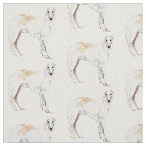 Borzoi Russian Wolfhound Standing Dog Art Fabric