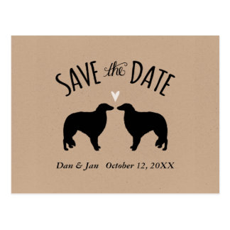 Borzoi Silhouettes Wedding Save the Date Postcard