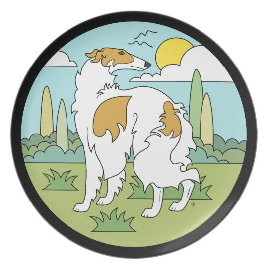 Borzoi Stylised (3Qtr Rear) Collector Plate