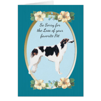 Borzoi, Teal Floral Sympathy or Pet Loss Card