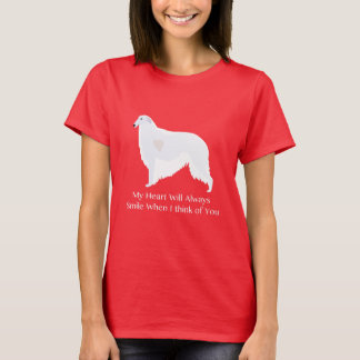 Borzoi Thinking of You Design T-Shirt