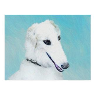 Borzoi (White) Painting - Cute Original Dog Art Postcard