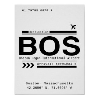 BOS, Boston Massachusetts Airport Call Letters Poster