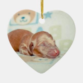 Boscoe Newborn-Lovebugdoxies puppy keepsake Ceramic Heart Decoration
