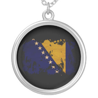 Bosnia and Herzegovina Flag Silver Plated Necklace