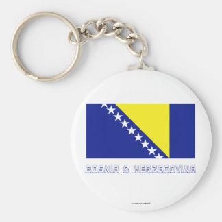 Bosnia and Herzegovina Flag with Name Key Ring