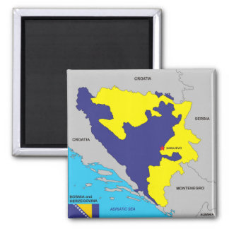 Bosnia Herzegovina country political map flag Square Magnet