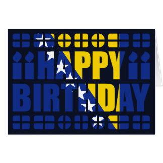 Bosnia Herzegovina Flag Birthday Card