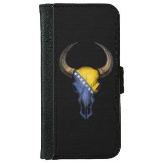Bosnia-Herzegovina Flag Bull Skull iPhone 6 Wallet Case