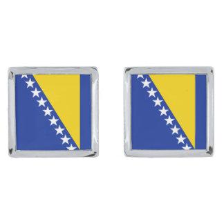 Bosnia Herzegovina Flag Cufflinks Silver Finish Cufflinks
