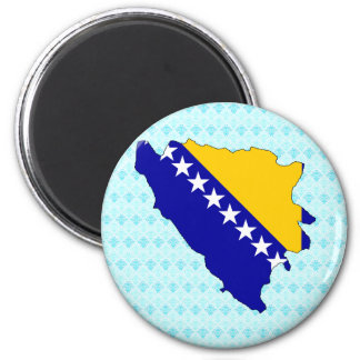 Bosnia Herzegovina Flag Map full size 6 Cm Round Magnet