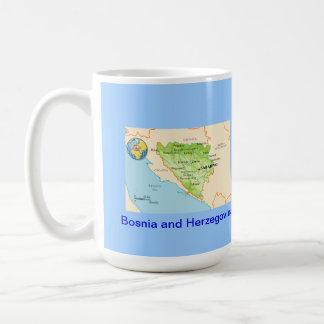 Bosnia & Herzegovina map & flag Mugs