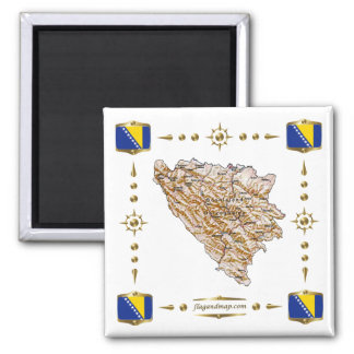 Bosnia Herzegovina Map + Flags Magnet