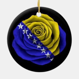 Bosnia Herzegovina Rose Flag on Black Round Ceramic Decoration