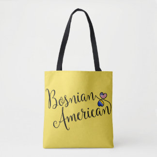Bosnian American Entwined Hearts Grocery Bag
