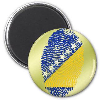 Bosnian touch fingerprint flag 6 cm round magnet