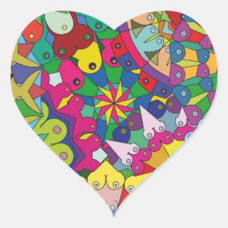 Bosom Mandala collage Heart Sticker
