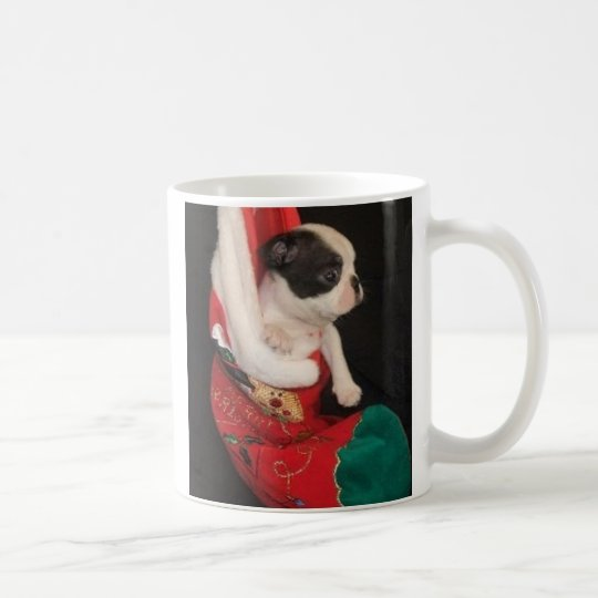 Boson Pup in Christmas Stocking Mug