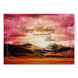 Boss birthday, Sunset over the mountains Card