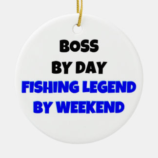 Boss by Day Fishing Legend by Weekend Christmas Ornament