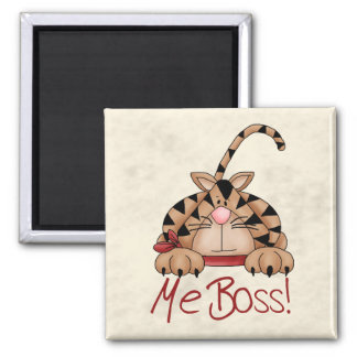 Boss Cat Square Magnet