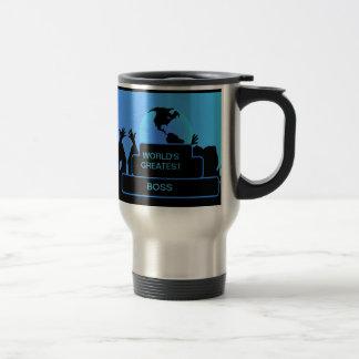 Boss Cheering World's Greatest Blue Stainless Steel Travel Mug