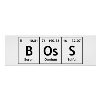 BOsS Chemistry Periodic Table Words Elements Atoms Poster