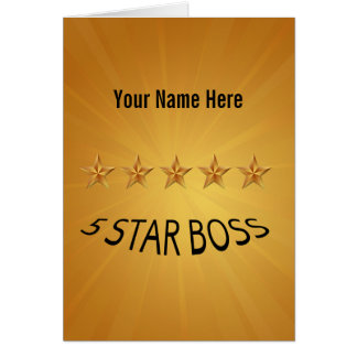 Boss Day Five 5 Star Custom Greeting Card