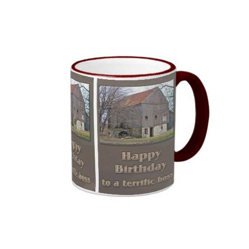 Boss Happy Birthday Old Bank Barn Mugs