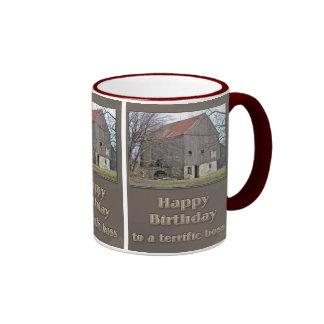 Boss Happy Birthday Old Bank Barn Ringer Mug
