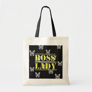 Boss Lady Butterflies Budget Tote Canvas Bag