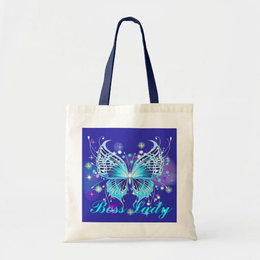 Boss Lady Butterfly Budget Tote Canvas Bag