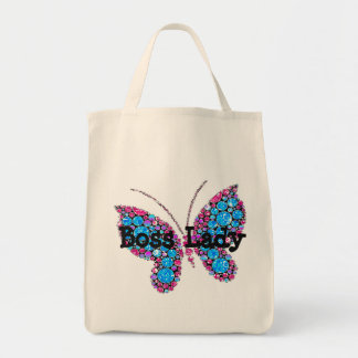 Boss Lady Butterfly Grocery Tote Grocery Tote Bag