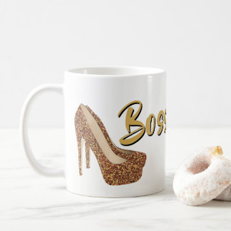 Boss Lady | Chic Black Gold Glitter High Heels Coffee Mug