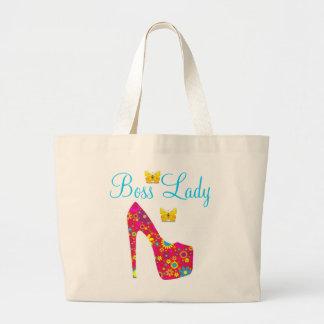 Boss Lady Flowers High Heel Shoe Jumbo Tote Bags