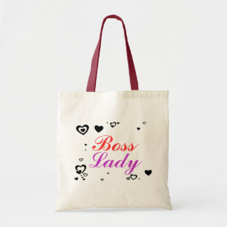 Boss Lady Hearts Budget Tote Canvas Bags