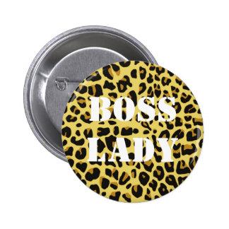 Boss Lady Leopard Print Button