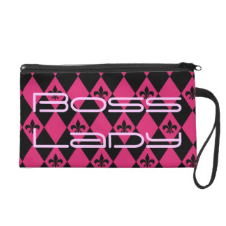 Boss Lady Pink and Black Wristlet